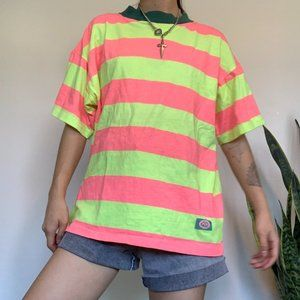 Vintage PCH Neon Striped T-shirt with Green Collar
